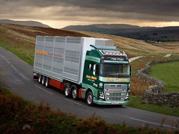 Impressionnant Volvo FH16 750 6x2 de Chris Waite installé à Driffield (UK).