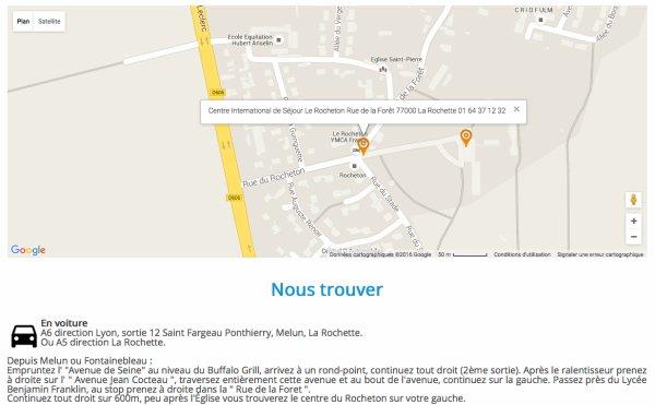 Plan d'accés : Centre International de Séjour Le Rocheton Rue de la Forêt 77000 La Rochette 01 64 37 12 32
