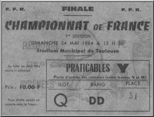 Le ticket du titre de Champion de France pour la Section Paloise en 1964