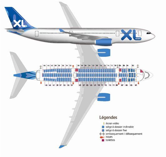 Documents de voyages re us vol xl airways pour nous for Airbus a330 xl airways interieur