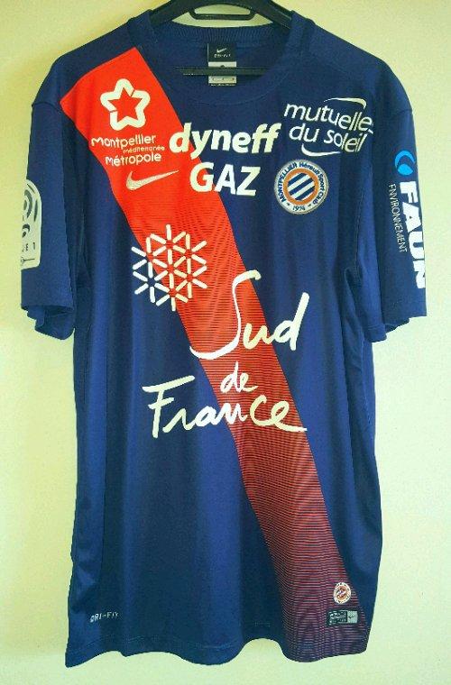 Maillot Stock pro preparé de Ryad Boudebouz avec Montpellier Herault saison 2015-2016.