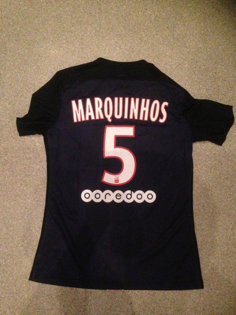 Maillot Marquinhos PSG 2015 - 2016 porté préparé