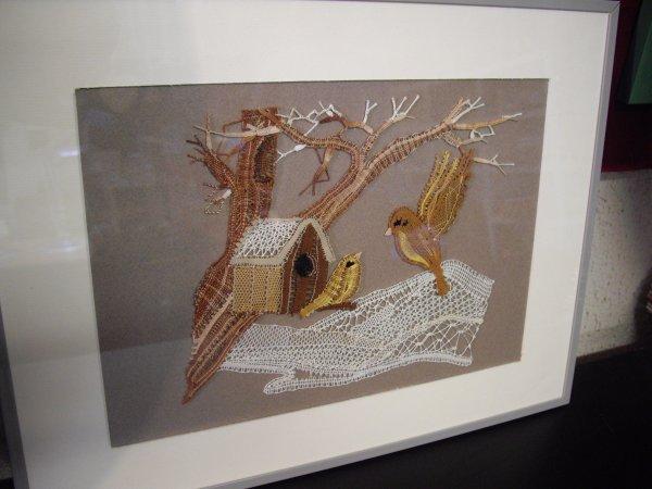 LES OISEAUX EN HIVER d'Arlette - très joli travail de fils coupés, issu de la Revue de la Dentelle