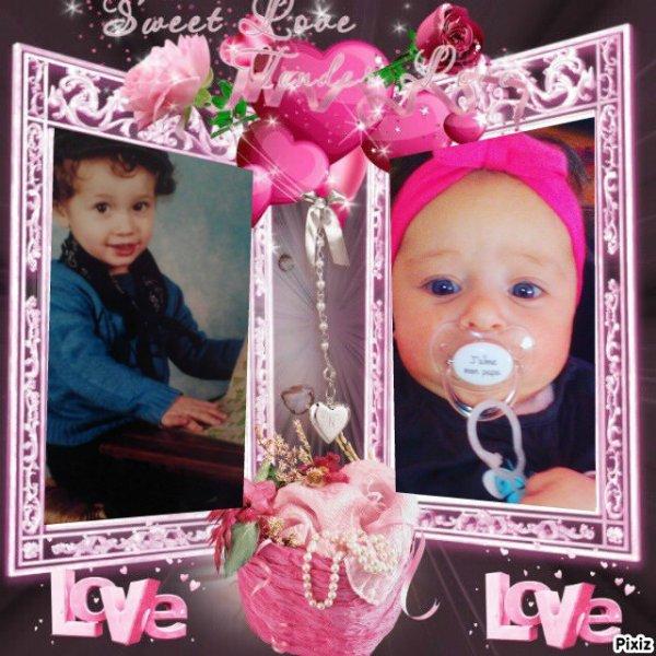 mes deux petit enfants tybault le fils a ma fille melanie et lynna la fille a mon fils benjamin