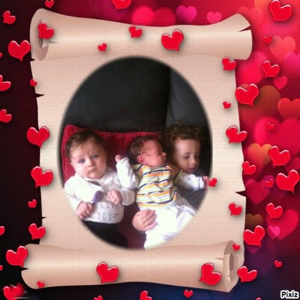 mes trois petit enfant le dernier   les deux garcon a melanie  tybault 2 ans et petit baptytes 1 mois et la fille a mon fils benjamin lynna  5 mois