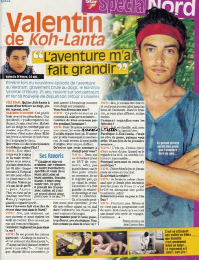 """Une interview de Valentin dansle télé Star . """" L'AVENTURE M'A FAIT GRANDIR """""""