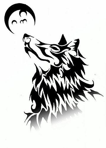 tattoo loup lune