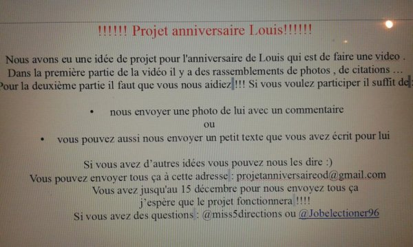 Projet anniversaire Louis (one direction)