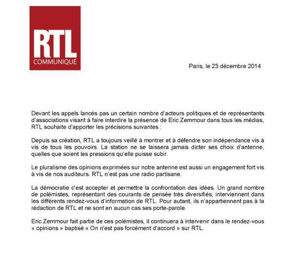 """La direction d'RTL parle pour la 1ére fois de l'affaire Zemmour et affirme qu'elle """"ne se laissera jamais dicter ses choix d'antenne""""..."""