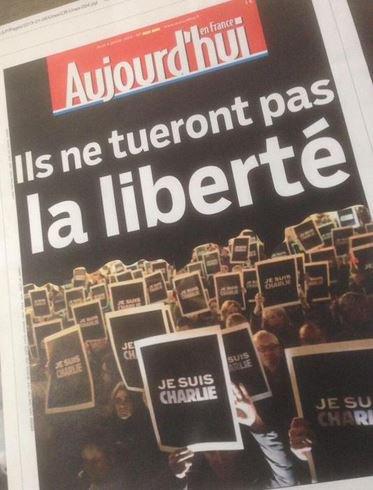 """Fusillade de Charlie Hebdo: Découvrez la Une du quotidien """"Aujourd'hui en France / Le Parisien"""" de demain..."""