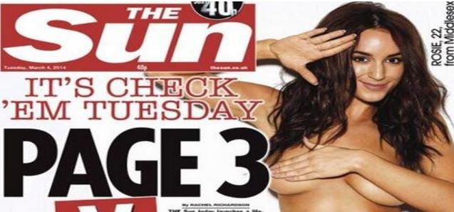 """Le tabloïd """"The Sun"""" serait sur le point d'abandonner les seins nus en page 3..."""