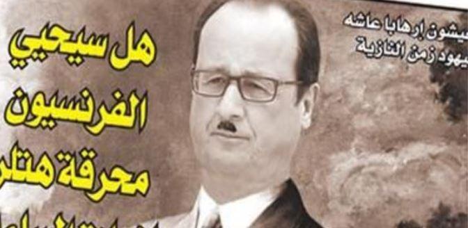 """François Hollande en Hitler dans un hebdomadaire marocain: Le directeur de la publication """"assume""""..."""