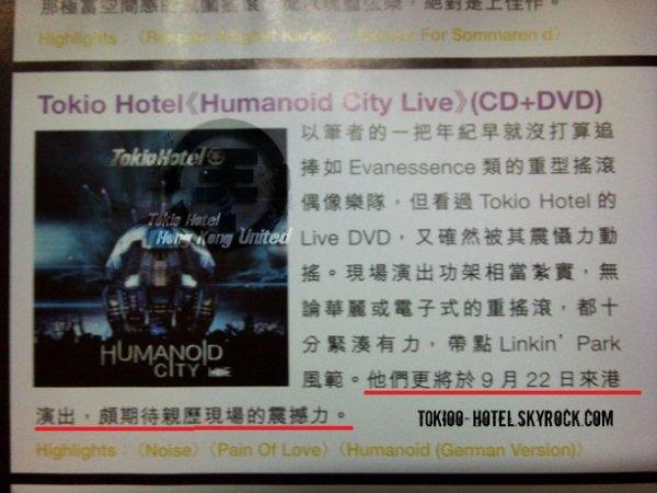 Marie claire nº 240 (Hong Kong) - Tokio Hotel à Hong Kong le 22 Septembre 2010 ?  D'après cet article, les garçons seront à Hong Kong le 22 Septembre 2010.    Pas plus d'infos pour le moment.
