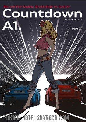 Concours - Gagnez une Audi A1  Via le lien source, vous pouvez participer au concours pour gagner une Audi A1 qui sera remise au gagnant par Bill et Tom.Pour ce faire, vous devez continuer l'histoire (en bande dessinée) sur le duel des frères Kaulitz. La créativité et les idées sont nécessaires, la meilleure histoire remporte l'Audi A1 et la bande dessinée sera également publiée dans le EMAG A1! Selon les termes et conditions, les personnes de plus de 18 ans ont droit à participer à la compétition. Le concours prend fin le 15 octobre 2010!
