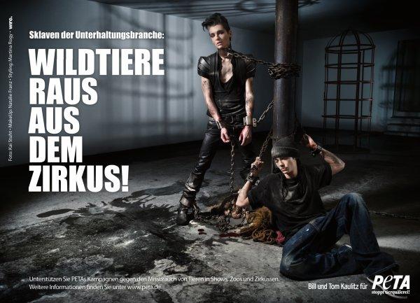 "PETA-Kampagne mit Bill & Tom: ""Wildtiere raus aus dem Zirkus!"" - HQ"