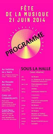Fête de la musique le 21 juin 214 a Langeais lieux animations musicale....