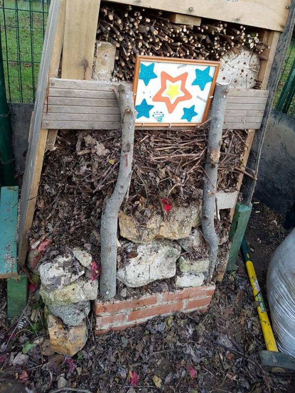 Construction d'un Hotel pour les insectes du jardin en cours de réalisation