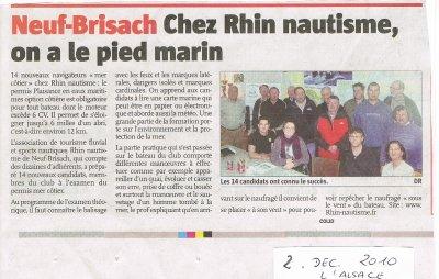 PERMIS BATEAUX à NEUF BRISACH , on a le pied marin (journal ALSACE du 2.12.2010)