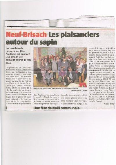 PERMIS BATEAUX  NEUF-BRISACH  les plaisanciers autour du sapin et 100 membres inscrits le 11.12.2010
