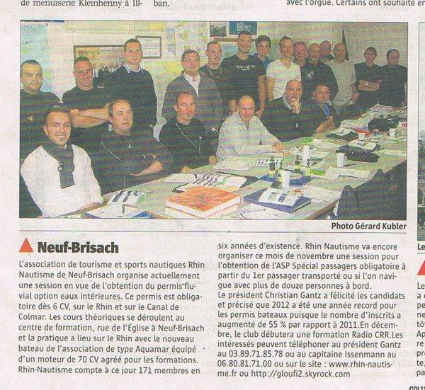 ARTICLE  PERMIS BATEAUX  journal Alsace Neuf Brisach