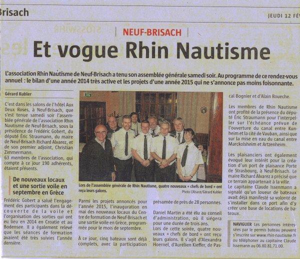 ARTICLE  JOURNAL ALSACE de l' AG de RHIN NAUTISME
