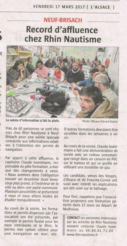 RECORD  D' AFFLUENCE  CHEZ RHIN NAUTISME  - PERMIS BATEAUX à NEUF BRISACH