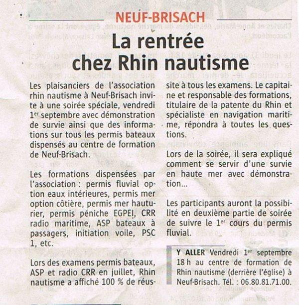 La Rentrée chez RHIN NAUTISME  des dizaines de personnes s'inscrivent