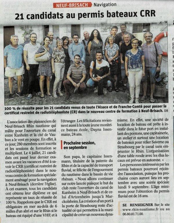 100% REUSSITE à l'examen du CRR RADIO MARITIME le 4 juillet à Neuf Brisach