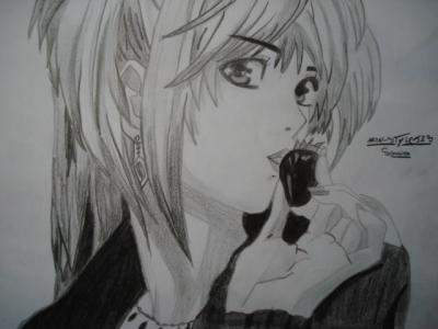 dessin manga en noir et blanc