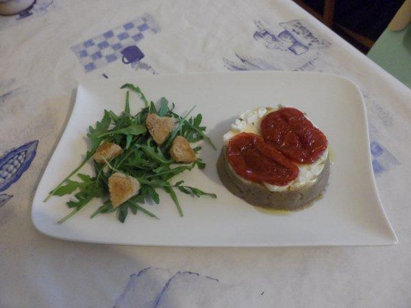 Caviar aubergine/chèvre/tomate séchée