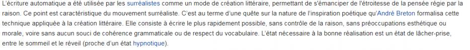 Ecriture automatique: séance 1.