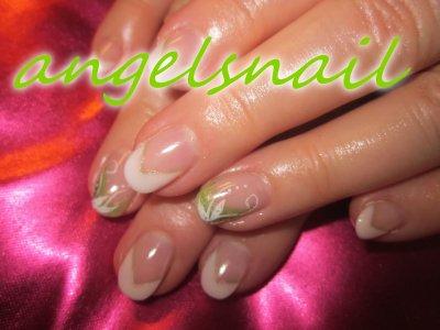 pose gel deco gel couleur vert kiwi et blanc : )