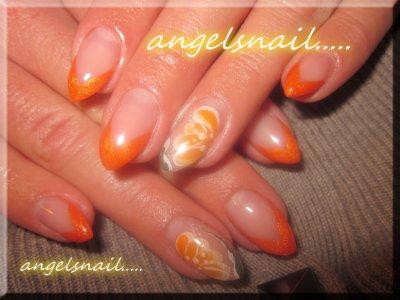 pose gel couleur orange et deco peinture : )