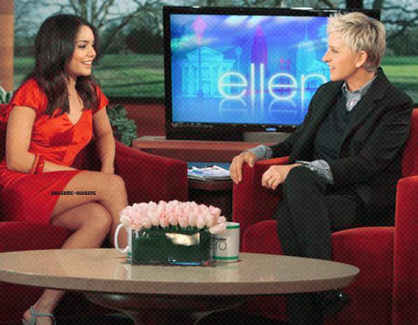 . Vanessa, 23/ 03 : .  Nessa a été vu à l'émission d'Ellen Degeneres où elle parle de Sucker Punch, De Zac ! Elle est superbe dans cette robe rouge..Newsletter  Autres Blogs ♥ . ♥ . ♥ . ♥    Ellen Degeneres
