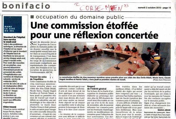 "REVUE DE PRESSE (""CORSE-MATIN"") : LE DOMAINE PUBLIC !"
