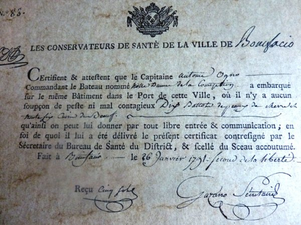 COMMERCE TRIANGULAIRE : UN CERTIFICAT DE SANTE DU XVIII° SIECLE