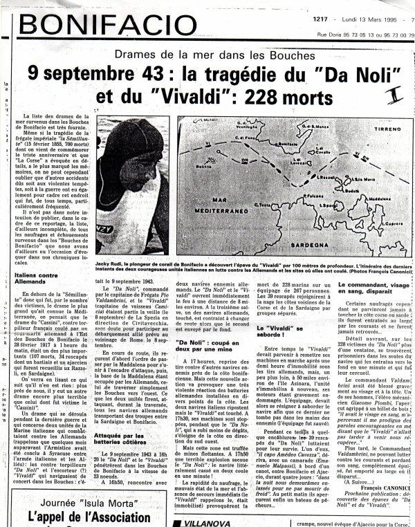 """DERNIERE GUERRE : LA TRAGEDIE DU """"DA NOLI"""" ET DU """"VIVALDI"""""""