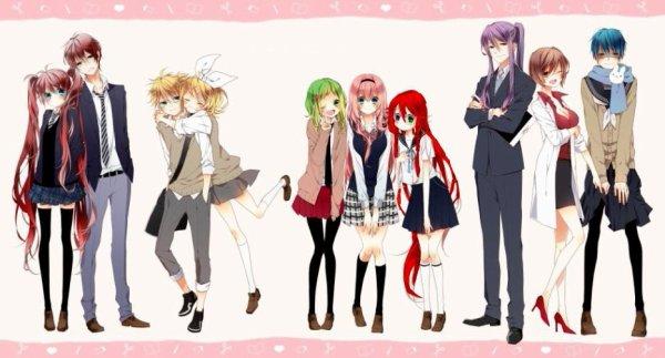 "Kono et Noko, Rin et Len, Gumi ""Natsume"" et Shinobu, Gakupo Meiko et Kaito"