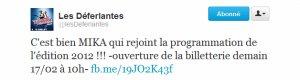 "Mika sera au festival ""Les Déferlantes""! + Twitter!"
