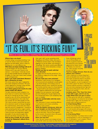 Interview QX Magazine + Twitter