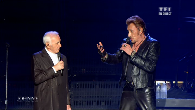 Johnny Hallyday en duo avec Charles Aznavour Live Bercy