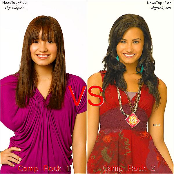 NewsTop-Flop     Vous préférez Demi Lovato dans Camp Rock 1 ou Camp Rock 2 ?  NewsTop-Flop      Perso je préfére Camp Rock 2 mais je la préfére avec les cheveux châtains !    NewsTop-Flop