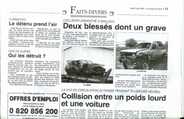 article de journal sur un accident de voiture en algerie voitures. Black Bedroom Furniture Sets. Home Design Ideas