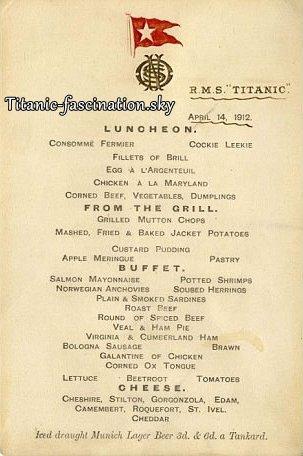 Le billet et le menu du Titanic