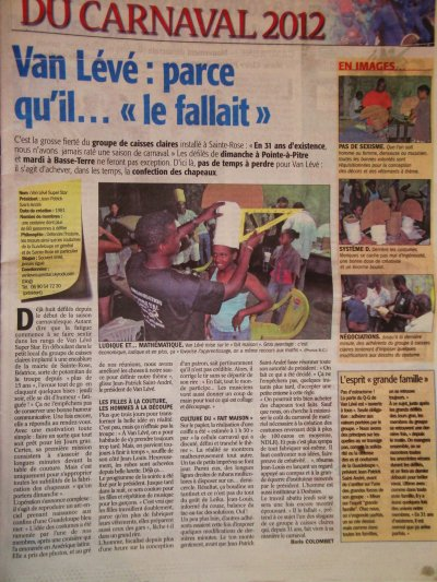 Article dans le France- Antilles du Samedi 18 février 2012