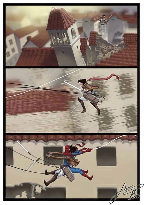 Spidey and attack on titan