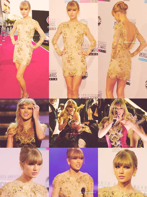 Le 18.11 Taylor était aux American Music Awards 2012, elle portait une magnifique robe dorée signée Zuhair Murad, et a chanté IKYWIT. Elle a également remporté le prix de la meilleure artiste country 2012 !