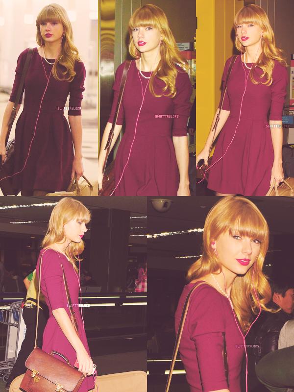 Taylor a été vue le 24.11 à l'aéroport international de Tokyo (Japon) en direction de l'Australie pour continuer la promotion de RED ! J'aime beaucoup sa robe, le violet lui va toujours très bien ! Je lui met un TOP, et toi ?