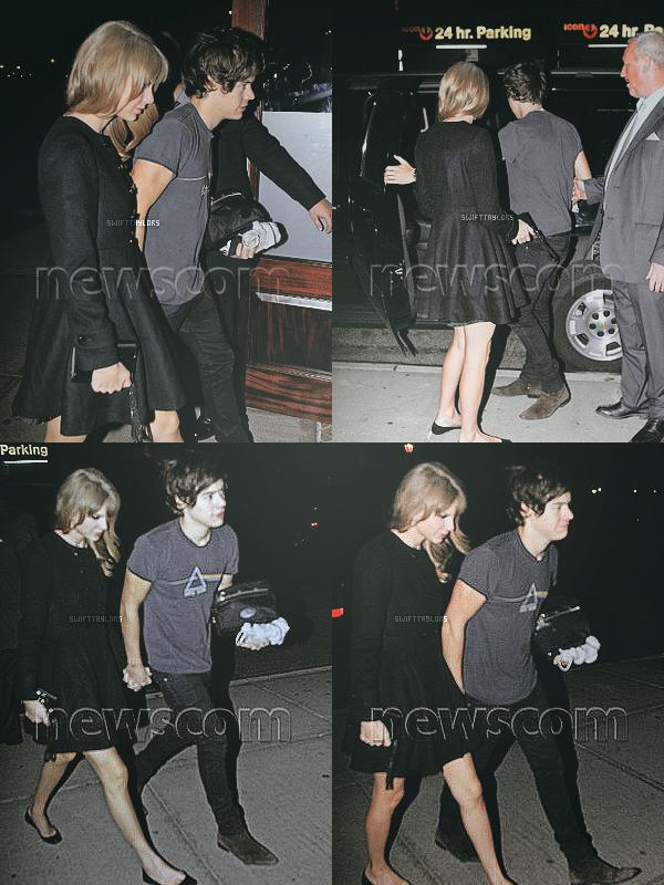 Le 04.12 vers 4 h du matin Taylor et Harry ont étés aperçus rentrant à leur hôtel après l'after party du conerct des One Direction ayant eu lieu plus tôt dans la soirée. TOP pour sa robe !