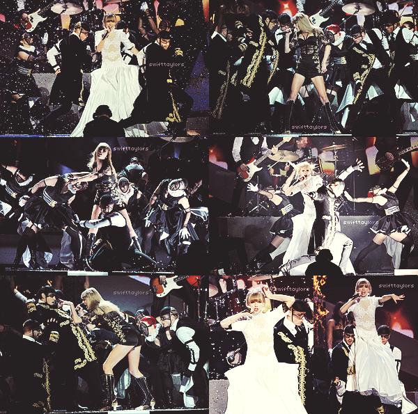 Le 20.02 Taylor était aux BRIT Awards à Londres, où elle était absolument éblouissante dans une robe noire, couleur qu'elle porte très rarement ! Sa performance était incroyable, et a été qualifiée comme étant LA performance de la soirée. De plus notre miss a changé de costume au milieu de sa chanson, comme lorsqu'elle chantait Love Story pendant le Fearless Tour, ce qui en a éblouit plus d'un ! En d'autres mots c'est un vrai TOP que Taylor nous as fait là ! Je vous ai également mis une vidéo de sa performance, malheureusement de très mauvaise qualité (la vidéo pas la chanson hein). Tu en penses quoi ? La performance te plait-elle ?